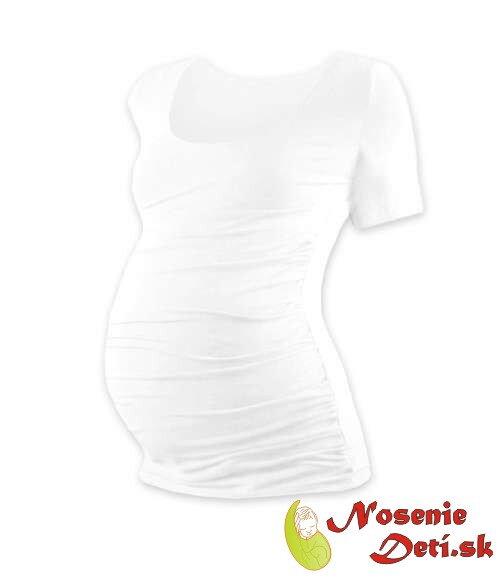 c244d3415019 Tehotenské tričko Biele Johanka krátky rukáv