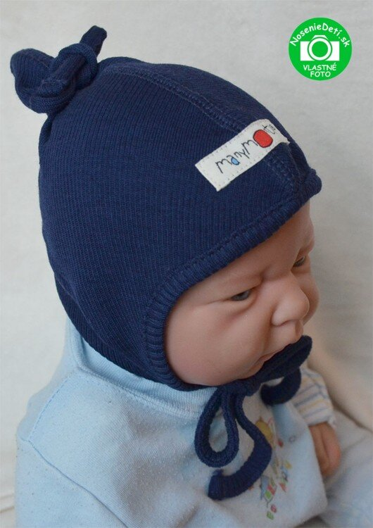 0d92d8108 Merino vlnená dojčenská zaväzovacia čiapka Silver Grey Merino dojčenská  zaväzovacia čiapka