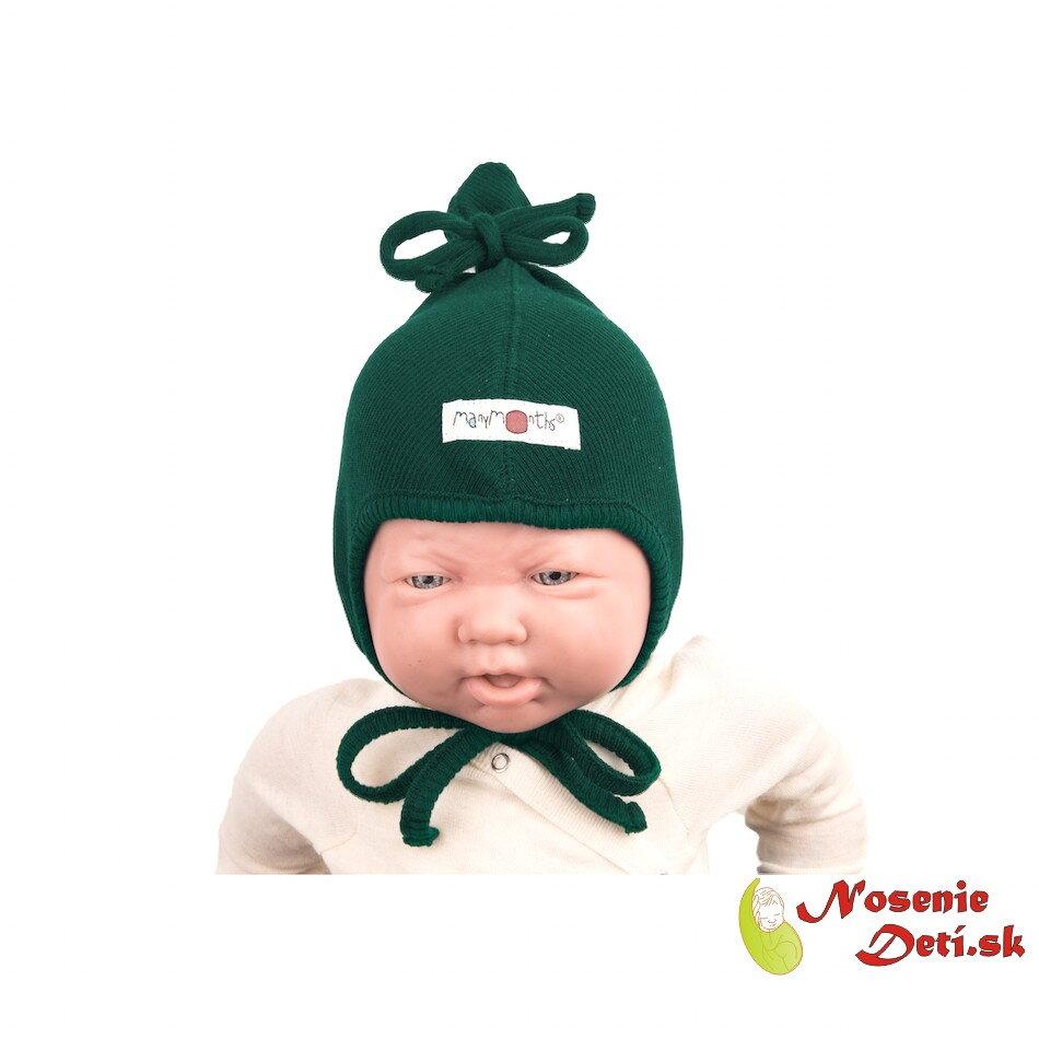 98eb2bfec Merino vlnená dojčenská zaväzovacia čiapka Sequoia Green