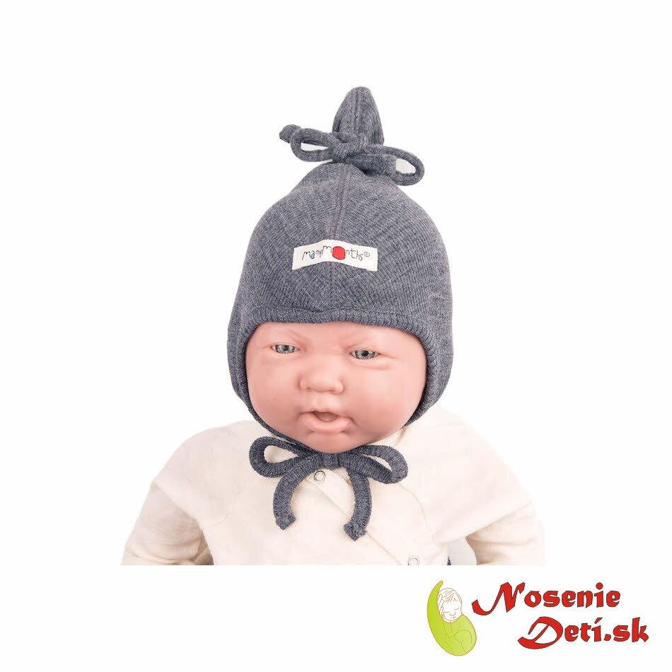 b20936c94 Merino vlnená dojčenská zaväzovacia čiapka Silver Grey
