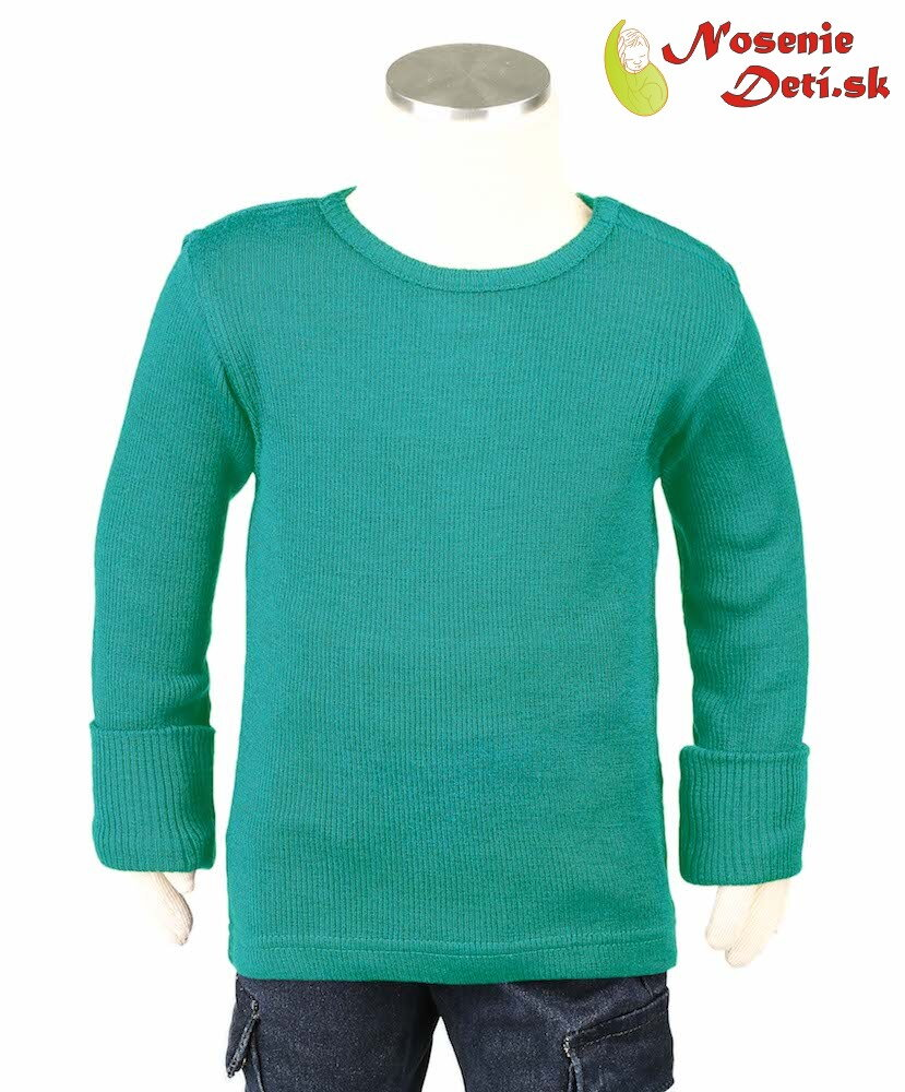 aef142dbe38c Detské merino tričko dlhý rukáv Manymonths Royal Turquoise